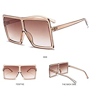 Hukai Retro Square Large Frame Sunglasses Men Women Unisex Eyewear Plastic Outdoor New (#4)