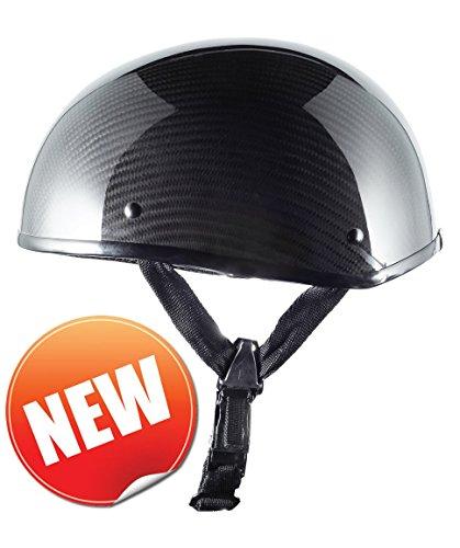 Bikerhelmets.com- Carbon Fiber Motorcycle Helmet -DOT Approved Ultra Low Profile Beanie - Gloss Black No Peak - Large