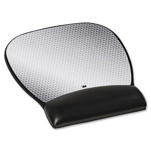 3M MW310LE MOUSEPAD AND WRIST REST GEL BLK LARGE LEATHERETTE PRECISE -