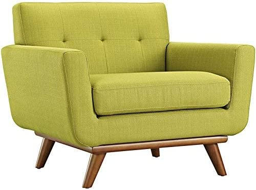 Modway Engage Mid-Century Modern Upholstered Fabric Accent Armchair and Ottoman