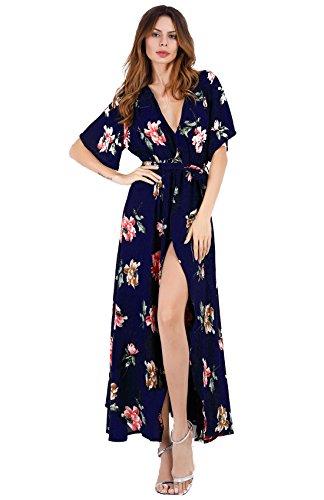 (Escalier Women's Split Floral Print Flowy Party Boho Maxi Dress with Belt)