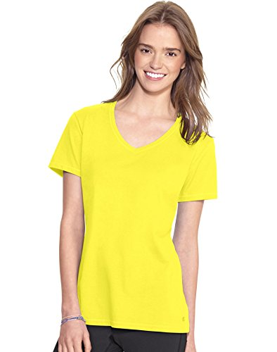 Champion Women's Jersey V-neck Tee, Naples Yellow, Large