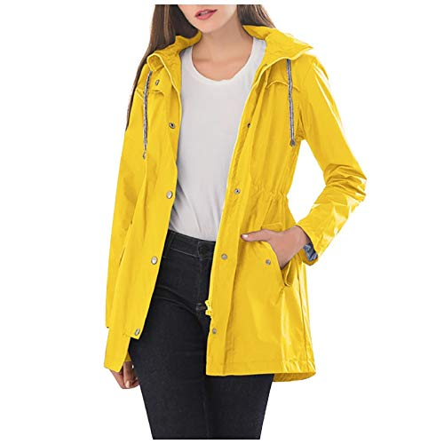Morecome Coat Women Rain Jacket Waterproof Active Outdoor Trench Raincoat Hooded Lightweight Solid Outwear with Pocket