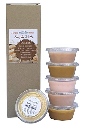 Scented Wax Melts Variety Pack - Hand Poured Natural Soy Candle Wax Melts for Warmers, 6 Resealable Cups (2.2 Ounces Each, 13.2 Ounces Total),Up to 40 Hours of Scent Throw Per Quarter Cup (Sweets)