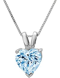 """1.95 ct Brilliant Heart Cut Aquamarine Blue Simulated diamond Cubic Zirconia Ideal VVS1 D Solitaire Pendant Necklace With 16"""" Gold Chain box Solid Real 14k White Gold"""