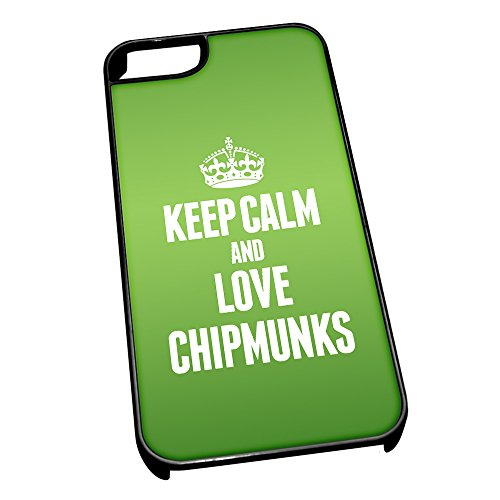Nero cover per iPhone 5/5S 2411 verde Keep Calm and Love Chipmunks