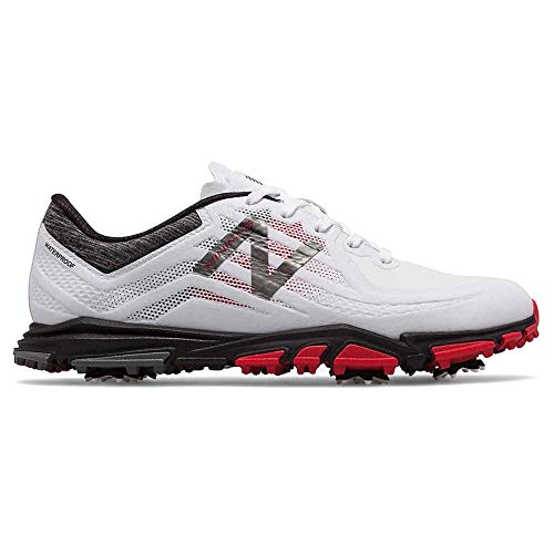 New Balance Men's Minimus Tour Waterproof Spiked Comfort Golf Shoe, White/red/Black, 10.5 D D US