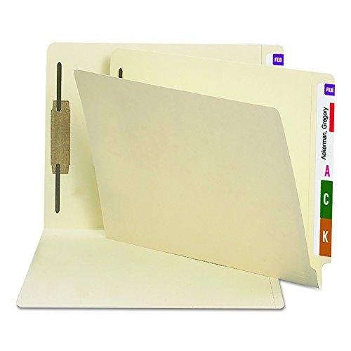 Folders Medical Manila File (Smead Heavyweight End Tab Fastener File Folder, Shelf-Master Reinforced Straight-Cut Tab, 1 Fastener, Letter Size, Manila, 50 per Box (34210))