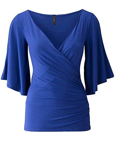 PengGeng Donna Collo V Spalla Fredda T Shirt Manica Lunga Magliette Body Camicie Blu