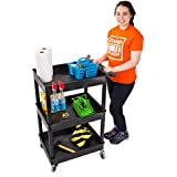 Original Tubster Compact- Shelf Utility Cart/Service Cart - Heavy Duty - Supports up to 300 lbs! - Tub Carts & Deep Shelves - Great for Warehouse, Garage, Cleaning,&More! (3 Shelf - Black 24x18)