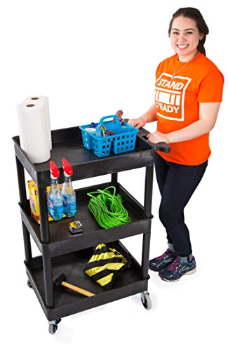 Tubstr Compact 3 Shelf Utility Cart | Heavy Duty Service Cart Supports up to 300 lbs! | Tub Cart with Deep Shelves | Great for Warehouse, Garage, Cleaning & More (3 Shelf/Black / 24 x 18)
