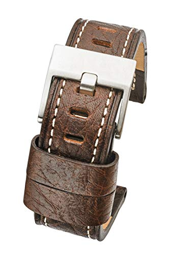 Thick Padded Stitched Genuine Leather Watch Band - Brown - 22mm (fits Wrist Sizes 6 to 7.5 inch)