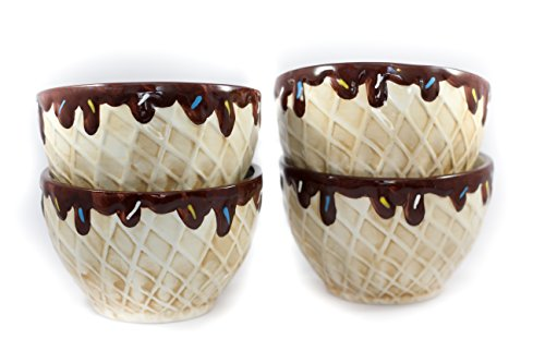 Ethels Gift Collection 4 Pieces Ceramic Ice Cream Bowl Set Home Decorative Waffle Cone Design (Coffee) ()