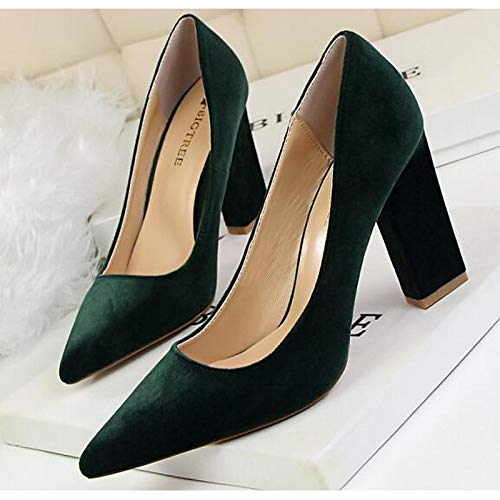 ZHZNVX Fall Chunky Heels Red Black Green Women's Shoes Heel Pink Suede Comfort rqrRUw