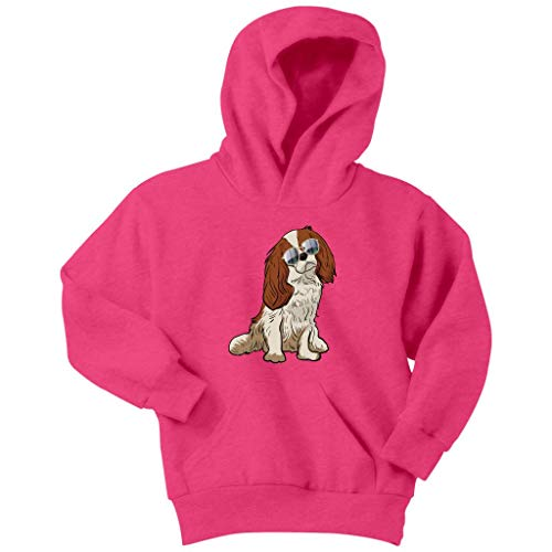 Cavalier King Charles Spaniel Dog Hoodie Sweatshirt for Youth Boys Girls, Gifts for Dog Lover Mom Dad 9166A, Neon Pink, Youth M/Kids ()