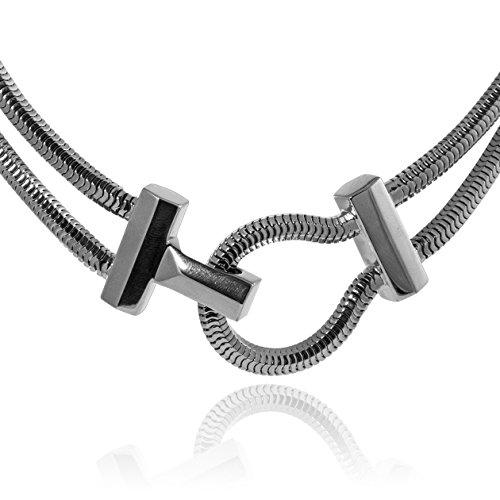 Lara Bohinc en laiton plaqué en rhodium Schumacher fermoir collier de 39cm