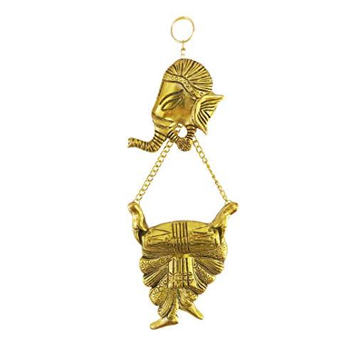 Divya Mantra Hindu God Sri Ganesha Brass Entrance Door/Wall Hanging Showpiece - Puja Room, Meditation, Prayer, Office, Business, Temple, Home Decor Gift Collection Item/Product -Money, Good Luck
