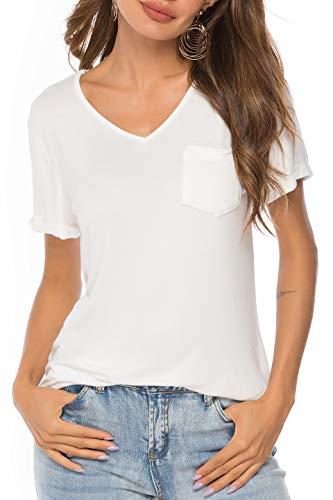 (Womens Short Sleeve V Neck Pocket T-Shirt Casual Blouse Tops (White, Medium))