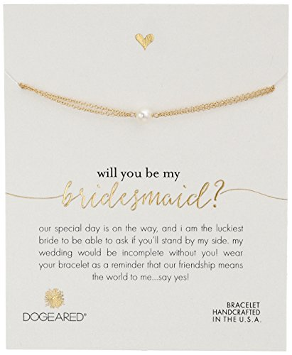 Dogeared Will You Be My Bridesmaid?, Small Button Pearl G...