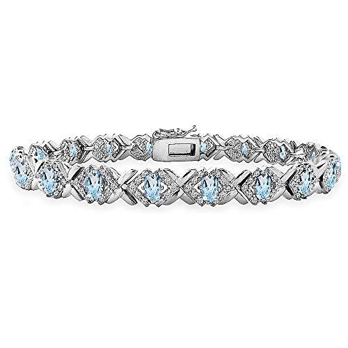Oval Topaz Jewelry Box - Sterling Silver Blue Topaz Oval X Design Polished Tennis Bracelet