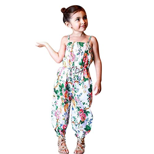 Price comparison product image TIFENNY 2018 New Arrival Summer Baby Kids Girls Vintage Floral Print Sleeveless Strap Rompers Jumpsuit Outfits (6T,  White)