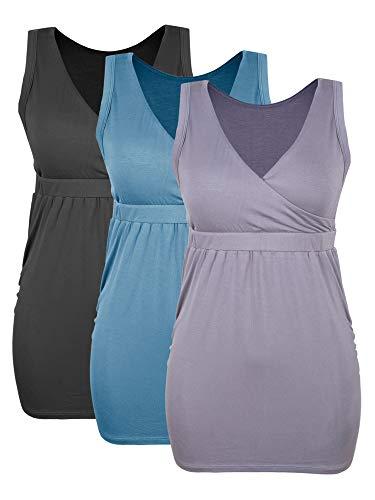 Intimate Portal Bump Parade Maternity Nursing Tank Top Breastfeeding Cami Sleep Bra with Pads 3-Pk Black Blue Gray M