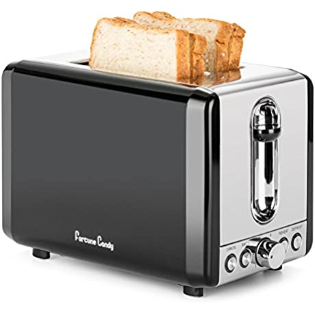 Fortune Candy KST009 Stainless Steel 2 Slice Toaster With Extra Wide Slot High Lift Lever 6 Toast Shade Settings Retro Toaster With Bagel Defrost Reheat Cancel Function Cool Silver And Black Toaster