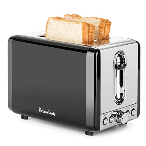 Toaster,Fortune Candy 2-Slice Toaster,Black Stainless Steel Toaster with Extra Wide Slots,Removable Crumb Tray,High Lift Lever,Bagel Defrost Reheat Cancel Function,6 Toast Shade Settings
