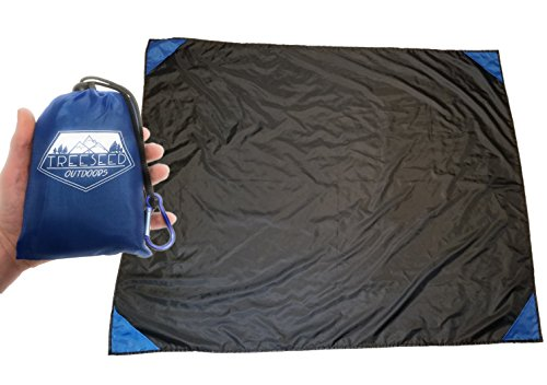 "Treeseed Outdoors Waterproof Compact Pocket Blanket, Picnic, Beach Mat, Camping, Hiking, Sand Proof, Rain Pancho, Durable Parachute Nylon, 55""x71"" Inches, Black, Blue Mini Carrying Pouch, Sports Tarp by Treeseed"