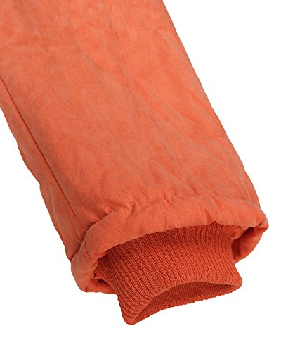 Auxo Mujeres Abrigo Acolchado Grueso Manga Larga con Capucha Cremallera Cintura Ajustable Naranja