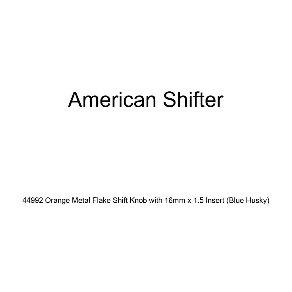 American Shifter 44992 Orange Metal Flake Shift Knob with 16mm x 1.5 Insert Blue Husky