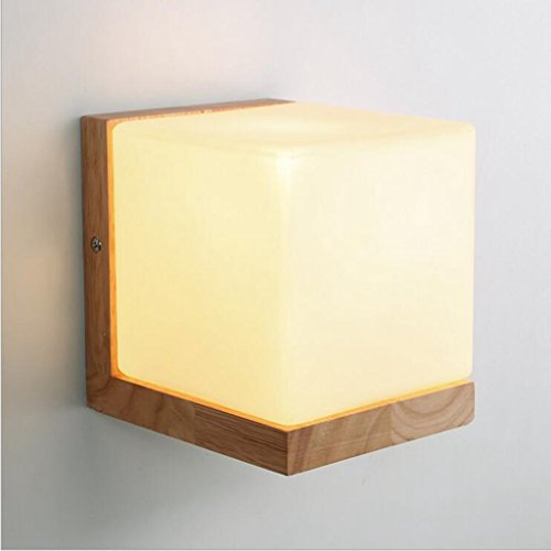 Jingzou Chinese bedside wall lamp American wood bedroom living room aisle (White Acrylic Quarter Sphere)