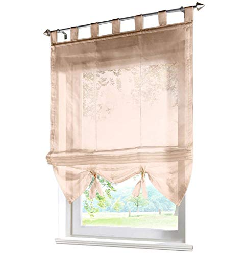 (86 York Sheer Roman Shades Balcony Window Balloon Curtain Voile for Bedroom Drawing Room 1 Panel)