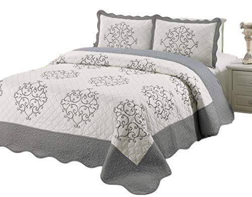 Quilts Bedding Discount (Quilt King Size 3 pc Bedding Bed set / Bedspread / embroidered / 2 Pillow Sham (Silver))