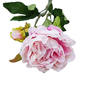 HeZelect Short Branch 2 Small Peony Flower Artificial Fake Bud Flower Photograph Prop Wedding Party Home Table Bonsai Bridal Bouquet for Home Wedding Decor Light Purple 74