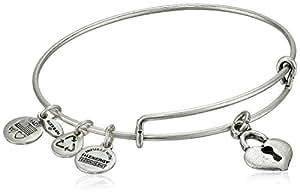 "Alex and Ani Bangle Bar ""Key To My Heart"" Rafaelian Silver-Tone Expandable Bracelet"