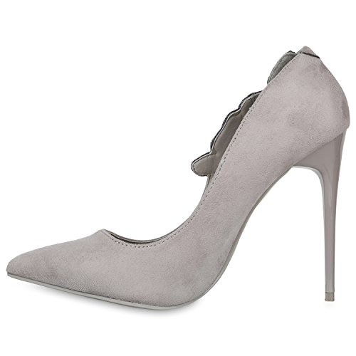 Stiefelparadies Spitze Damen Pumps Stiletto High Heels Lack Leder-Optik Schuhe Elegante Absatzschuhe Party Abendschuhe Abiball Flandell Grau Brooklyn