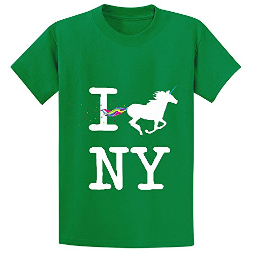 Snowl I Unicorn Ny Girls Crew Neck Print T Shirt Green