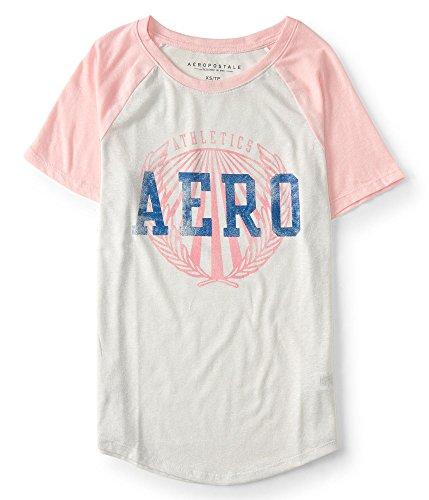 Aeropostale Women's Raglan Baseball Tee Shirt (X-Large, Cream/Pink)