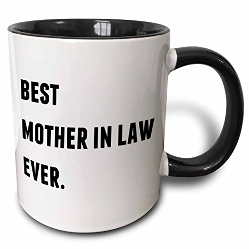 3dRose Best Mother In Law Ever, Black Letters On A White Background - Two Tone Black Mug, 11oz (mug_213352_4), 11 oz, Black/White Christmas Drinks White Background