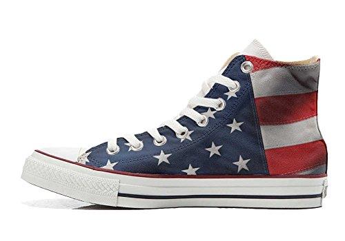 Sneaker CONVERSE Artigianale con Prodotto unisex Star personalizzate All USA Bandiera Americana aWHAOHfn