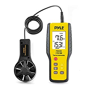 Upgraded Version Digital Handheld Anemometer - Thermometer, Wind Speed Meter for Measuring Air Velocity, Air Flow, Temperature Using Display Units: Miles, Kilometers, Meters, Feet, Knots - Pyle PMA90