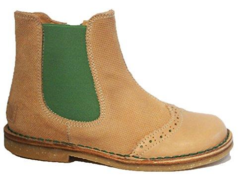 Italianos Botas Boots Couro De Bege Zipper Ankle Verde Ocra pqUwU