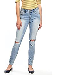 Mid-Rise Rockstar Distressed Jeans for Women Size 8!