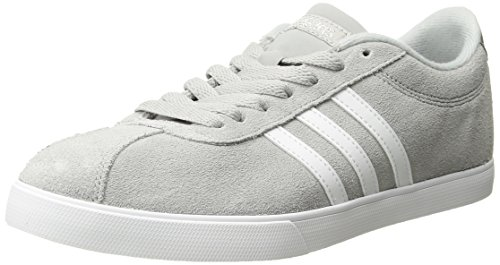 (adidas Women's Shoes | Courtset Sneakers, Light Onix/White/Metallic Silver, (9 M)