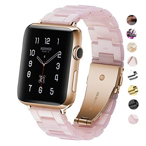 Plastic Link Band - Fwheel Pink Watch Band Compatible with Apple Watch 38mm 40mm, Fashion Lightweight Resin Band with Stainless Steel Rose Gold Buckle Compatible with iWatch Series 4/3/2/1,Sport, Edition