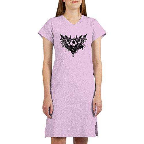 Royal Lion Women's Nightshirt (Pajamas) Soccer Ball Futbol Angel Wings - Pink, Large