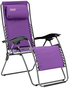 Coleman Flat Fold Layback Lounger Chair, Purple