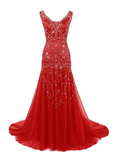Night Moves Prom Gowns (H.S.D Womens Mermaid V Neck Beaded Long Prom Dress Evening Gowns Red)