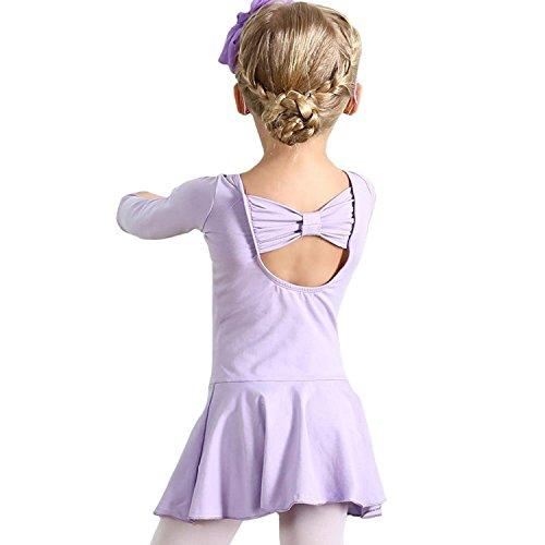 Rainlover Girl's Classic Long Sleeve Gymnastics Dance Leotard Back Bowknot Dress (8-9 Years, Purple)